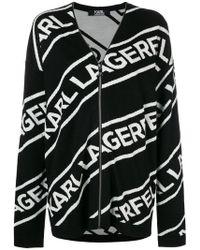 Karl Lagerfeld - Zipped Logo Cardigan - Lyst
