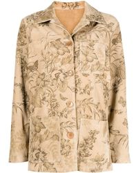 Etro Floral-print Leather Jacket - Multicolor
