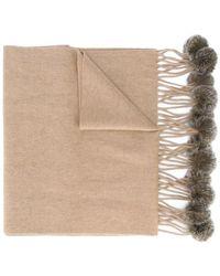 2f694b2891838 N.Peal Cashmere - Bufanda tejida con borlas de pelo de conejo - Lyst