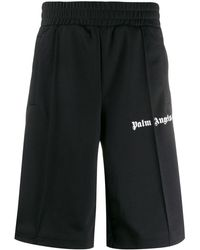 Palm Angels Shorts sportivi con stampa - Nero