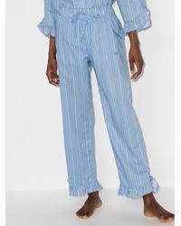 Ganni ストライプ パジャマパンツ - ブルー