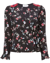 Tanya Taylor Clio Floral Long-sleeve Silk V-neck Top - Black