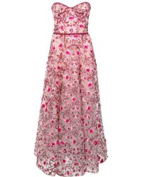 Marchesa notte - Floral embroidered dress - Lyst