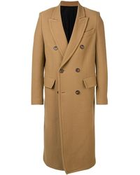 AMI Patched Pockets Double-breasted Long Lined Coat - Natural