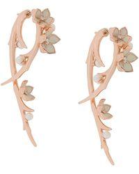 Shaun Leane Cherry Blossom Diamond Hook Earrings - Metallic
