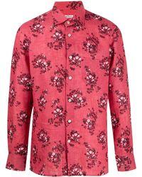 Kiton Floral-print Long-sleeved Shirt - Pink