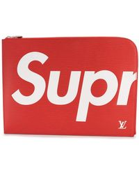 Louis Vuitton X Supreme Pre-owned Jules Gm Clutch - Red