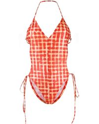 CHARLOTTE KNOWLES Checked Swimsuit - Red