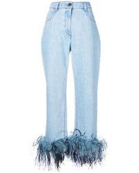 Prada Feather Cuff Jeans - Blue