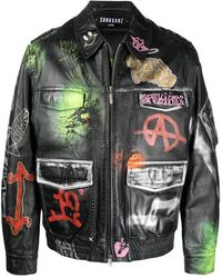 Sankuanz Graphic-print Leather Jacket - Green