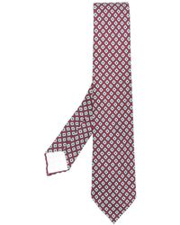 Kiton Corbata con bordado geométrico - Rojo