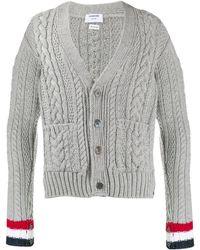 Thom Browne Aran Cable Knit Cardigan - Grey
