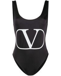Valentino Vロゴ 水着 - ブラック