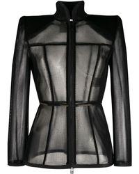 Fendi Mesh Long-sleeved Top - Black