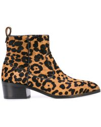 Veronica Beard Leopard Ankle Boots - Brown