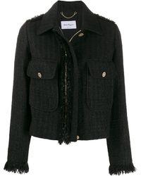 Ferragamo Bouclé Tweed Zip-front Jacket - Black
