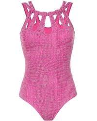 Amir Slama Textured Swimsuit - ピンク