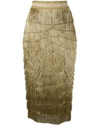 Dolce & Gabbana メタリック フリンジ スカート