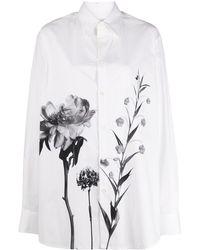 Valentino Рубашка С Цветочным Принтом - Белый