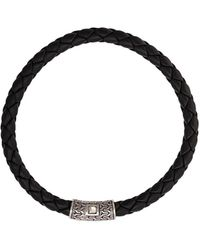 John Hardy Silver Classic Chain Round Woven Leather Bracelet - Black
