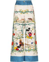 Gucci Пижамные Брюки С Цветочным Узором Из Коллаборации С Disney Mickey - Белый
