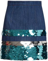 Miu Miu Sequin Embroidered Denim Skirt - ブルー