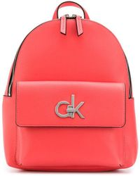 Calvin Klein Структурированный Рюкзак С Металлическим Логотипом - Розовый