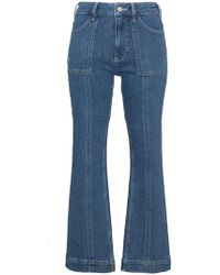 Ganni Flat Pockets Cropped Flared Jeans - Blue