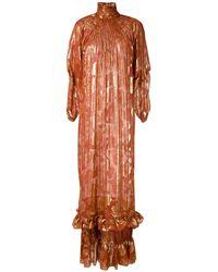 À La Garçonne Silk Lurex Jacquard Dress - Brown
