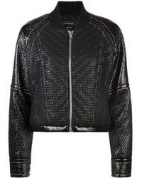 Yigal Azrouël Laminated Tweed Bomber Jacket - Black