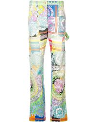 Versace Technicolor Baroque Print Jeans - White