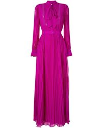 Self-Portrait Плиссированное Платье Макси С Бантом - Розовый