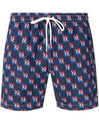 Eleventy Fish Swim Shorts - Blue