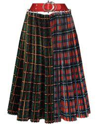 Chopova Lowena Haakon Check-panels Pleated Skirt - Red