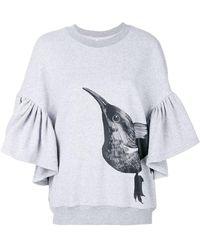 Ioana Ciolacu Ruffle Bird Detail Sweatshirt - Grey