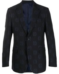 Versace All Over Logo Suit - Blue