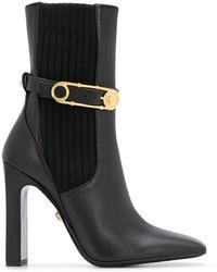Versace Ботильоны На Высоком Каблуке С Квадратным Носком - Черный