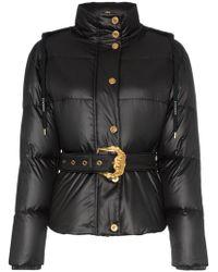 Versace Пуховик С Капюшоном И Поясом - Черный