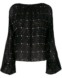 Saint Laurent - Embroidered Sheer Blouse - Lyst