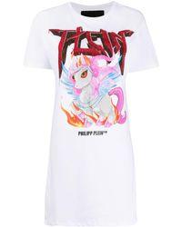 Philipp Plein Unicorn T-shirt Dress - White