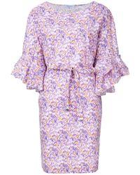 Blumarine - Tie Waist Ruffle Dress - Lyst