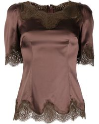 Dolce & Gabbana - Lace-trimming Short-sleeved Blouse - Lyst