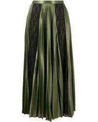 Christopher Kane Lace Panelled Pleated Skirt - Зеленый