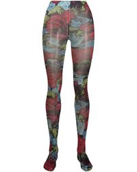 Versace Floral Print Tights - Blue
