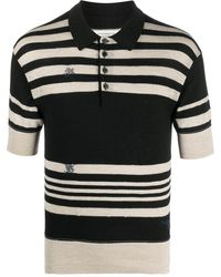 Maison Margiela ステッチディテール ニットポロシャツ - ブラック