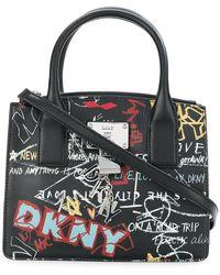 Donna Karan Bolso shopper pequeño con graffitis - Negro