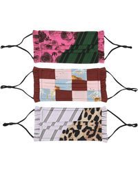 Ganni Patchwork Face Mask Three Pack - Multicolour