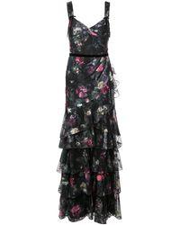 Marchesa notte - Платье С Цветочной Вышивкой - Lyst