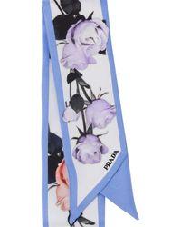 Prada Roses Print Scarf - White