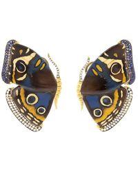Silvia Furmanovich Marquetry Butterfly ダイヤモンド&サファイア イヤリング 18kイエローゴールド - メタリック